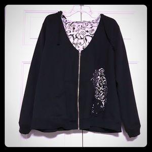 Cato Black V-Neck Hoodie Sweater